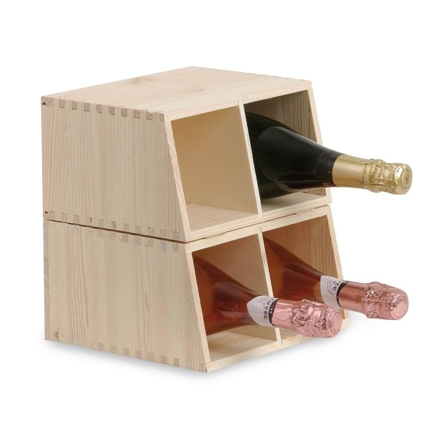 Cantinetta Doppio Uso in Legno Massello di Pino per 4 Bottiglie e Modulo Componibile Renoir ...