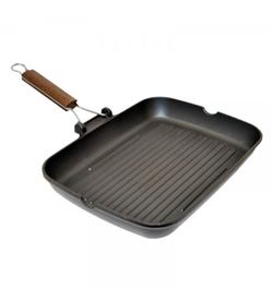 Rectangular cast iron Grill Pan - Dimensions: 43.8 x 27.1 Ø x 5 cm