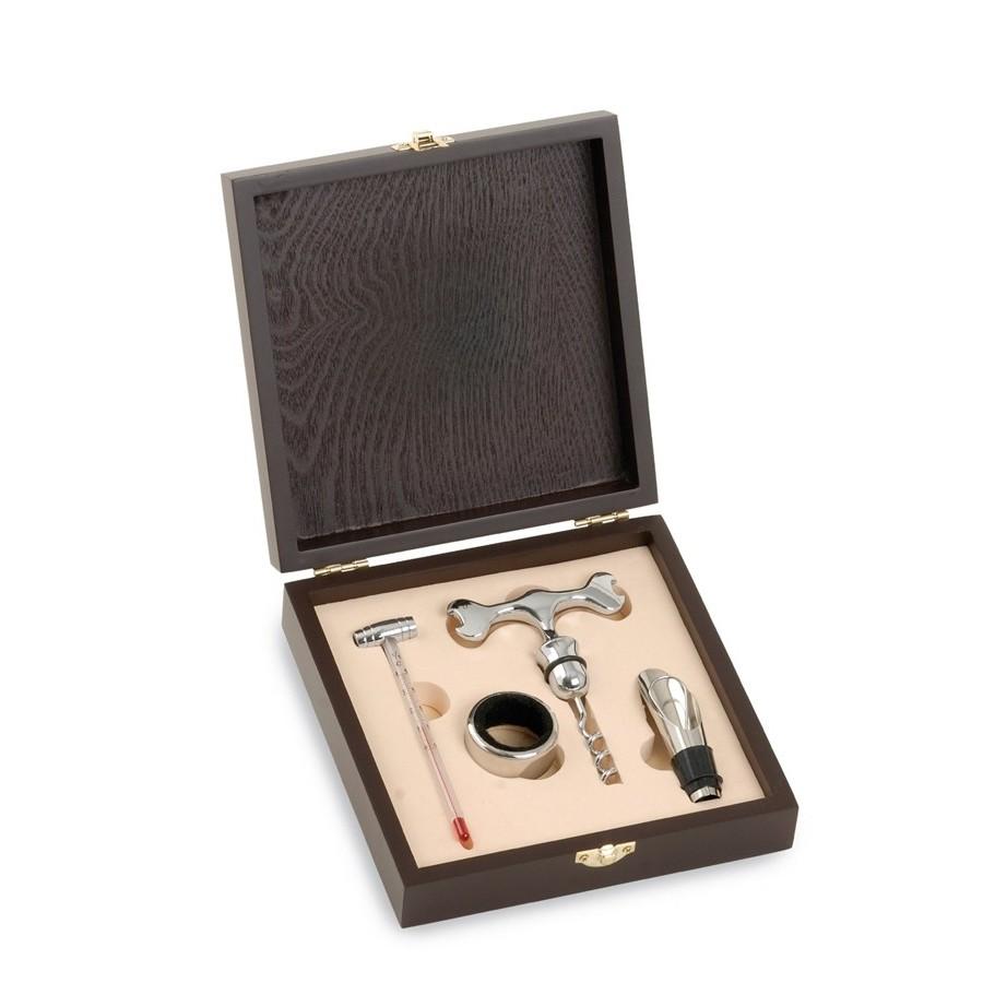 4 Set Weinzubehör in Holz-Geschenkbox, Flasche Thermometer, Tropf, T Korkenzieher und Stopper Ausgie