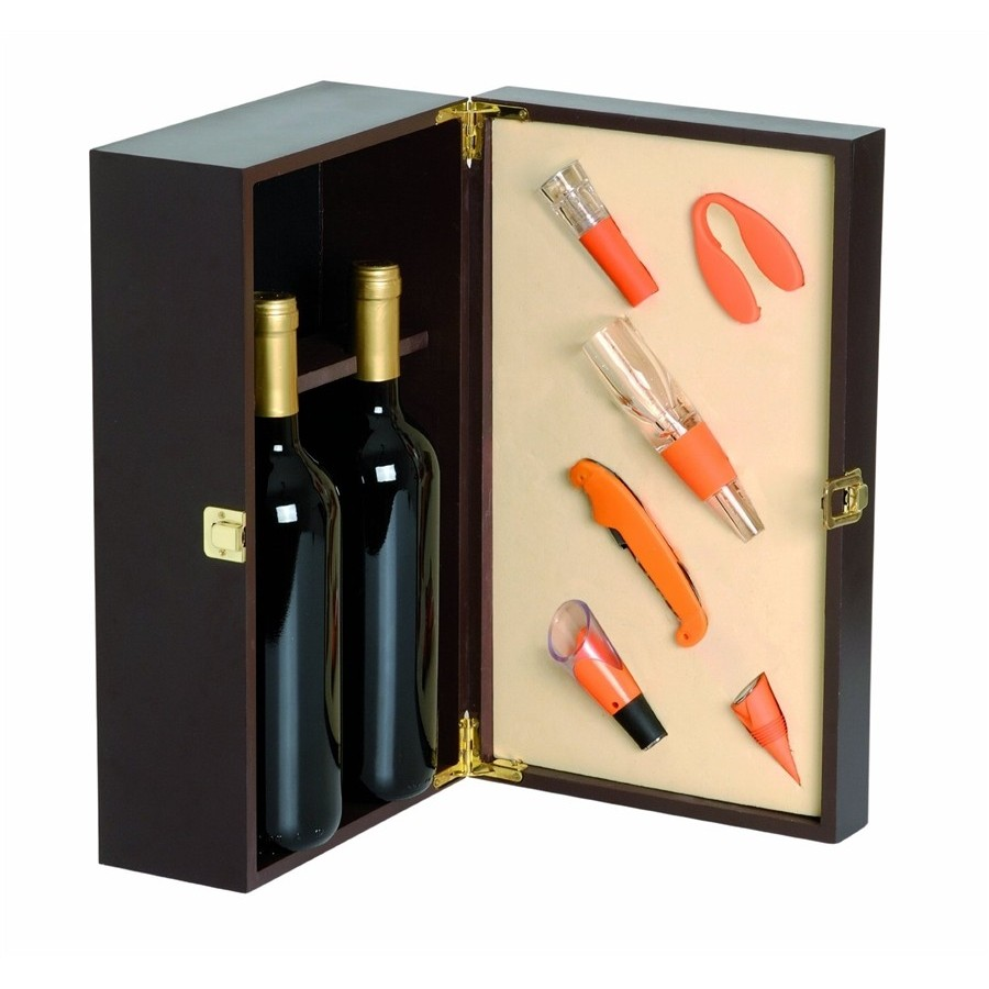 Wooden Wine Box For 2 Bottles Of Orange Box With Accommodation For 6 Included Accessories Renoir Wooden Boxes Products