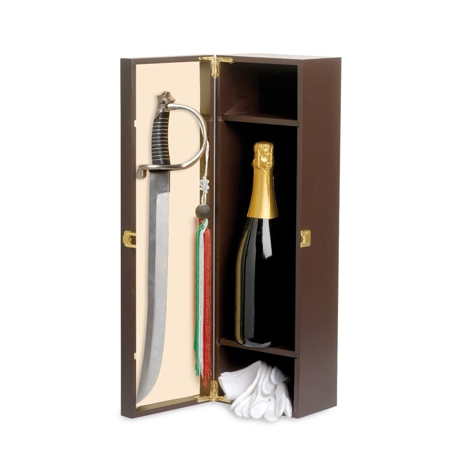 Wooden Box with Champagne saber and gloves, Accommodation for 1 Bottle