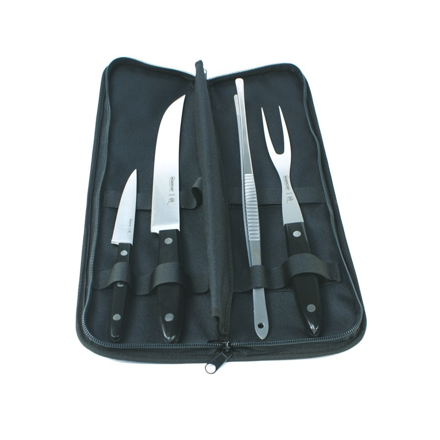 4 Stück mit 2 Messer, Gabel und Zangen - - Schwarz Griff September Chef mit Clutch Grill
