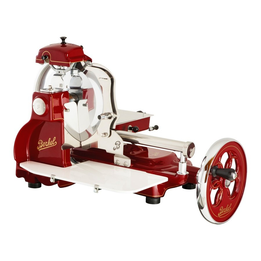 Berkel - Flywheel Slicer - Mod. TRIBUTE Novelty 2018 - Red Berkel with Decors Gold and Flowered Vola