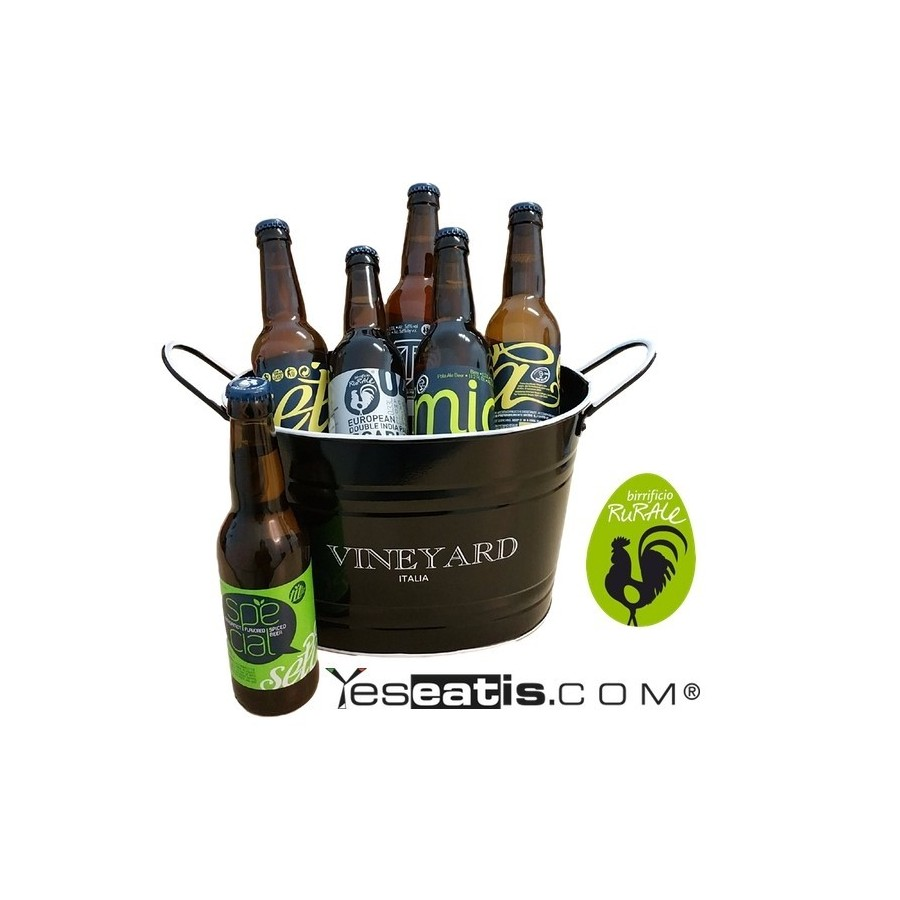 BIRRA ARTIGIANALE - GIFT BOX 6 Craft Beers (6x33cl) with bucket cooler for ice - RED