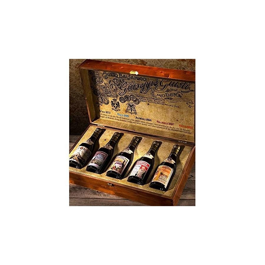 -Gedenksammlung ''Alte Weltausstellung''-Box mit 5 Flaschen Balsamico-Essig aus Modena ggA Champagno
