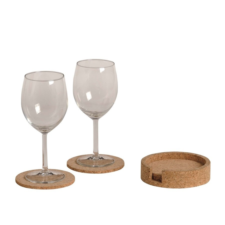 6 Coasters with solid container Cork
