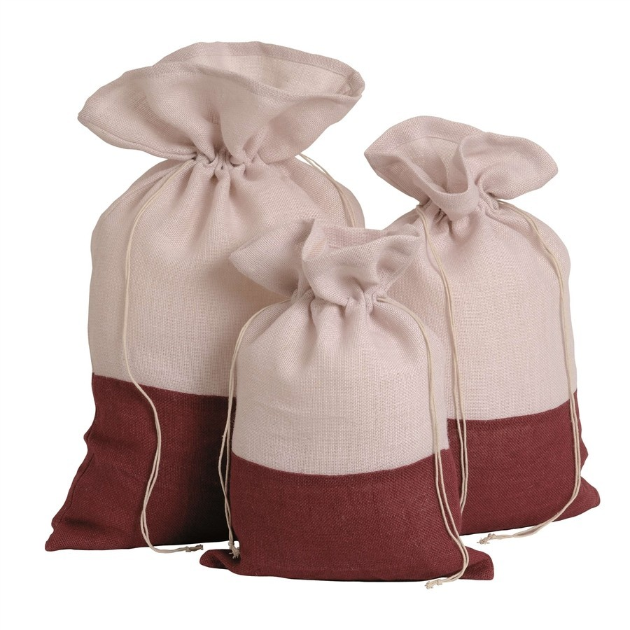 Bag natural jute - white and burgundy Small