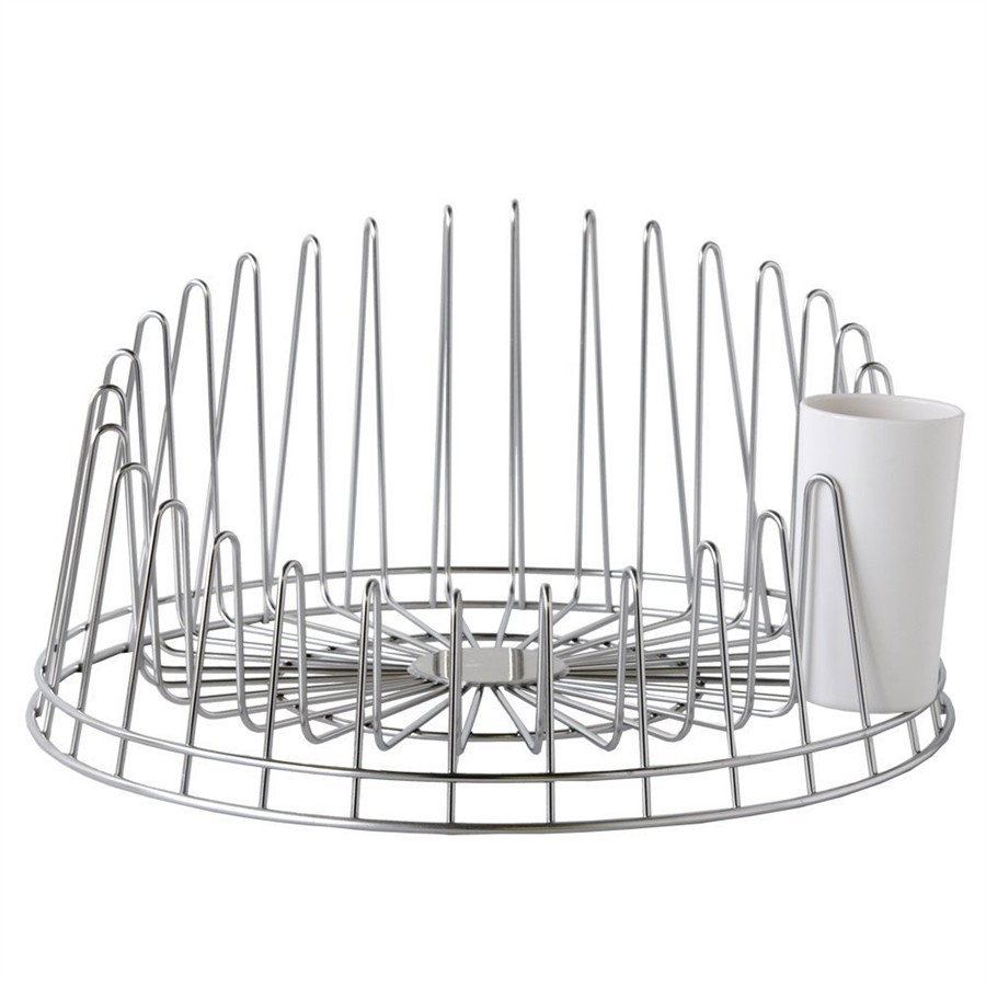 A TEMPO - plate racks in steel wire with cutlery drainer + tray in thermoplastic resin