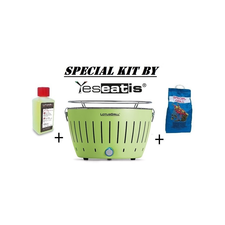 NEW KIT by YESEATIS 2017 -Barbecue +high performance Charcoal and gel-GREEN