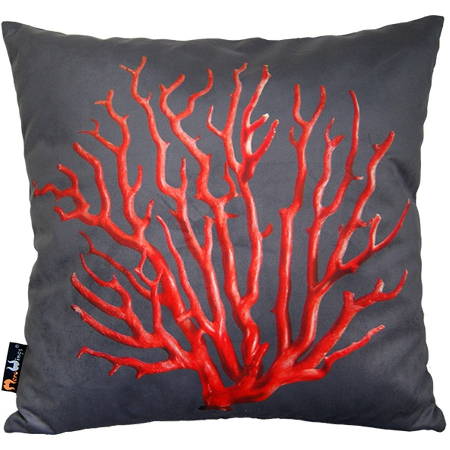 Photo Merowings C Red On Cream Square Cushion 45 X 1