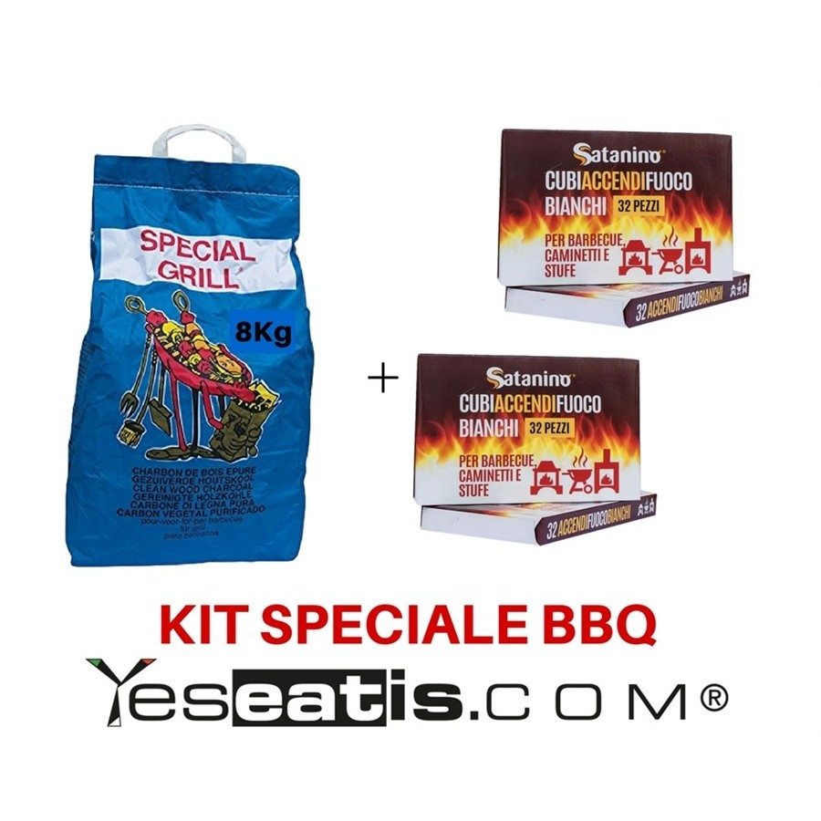 photo 8 Kg Carbobois Charcoal+ 64 White firelighter cubes Satanino