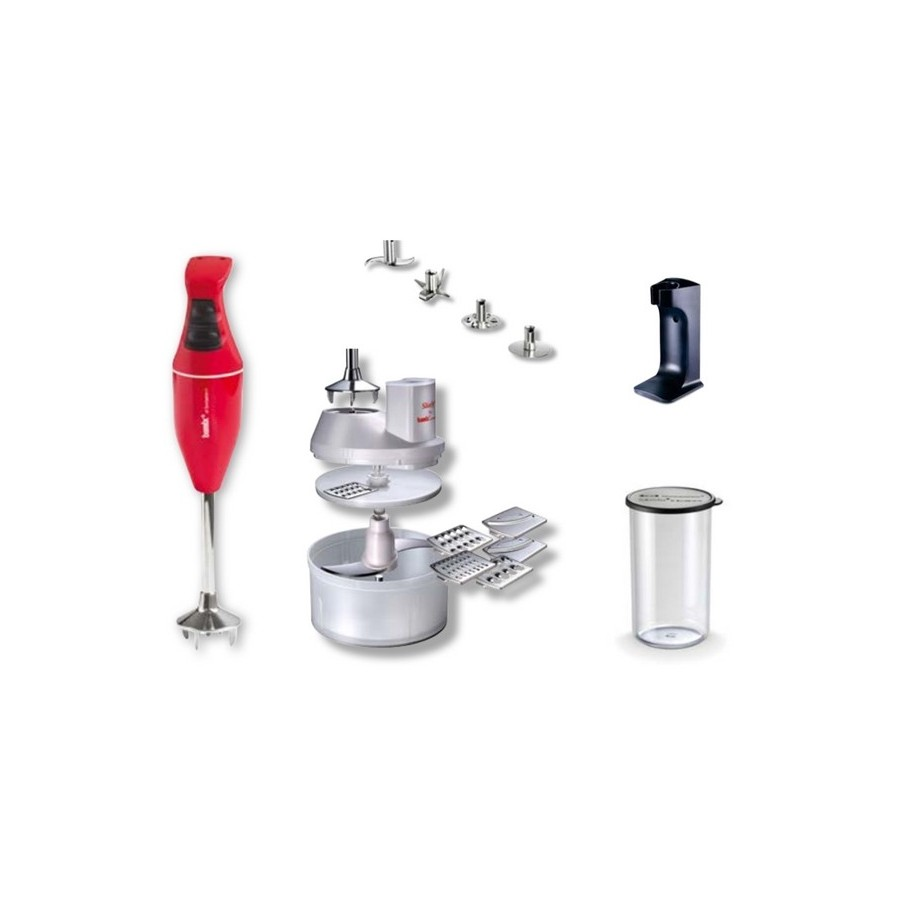 Bamix Mono - Hand Held Food Processor + Accessories - Red