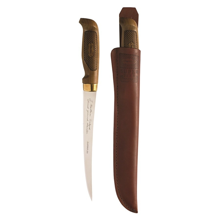 Lapp 245 -Knife with stainless steel blade, curved birch handle and leather sheath