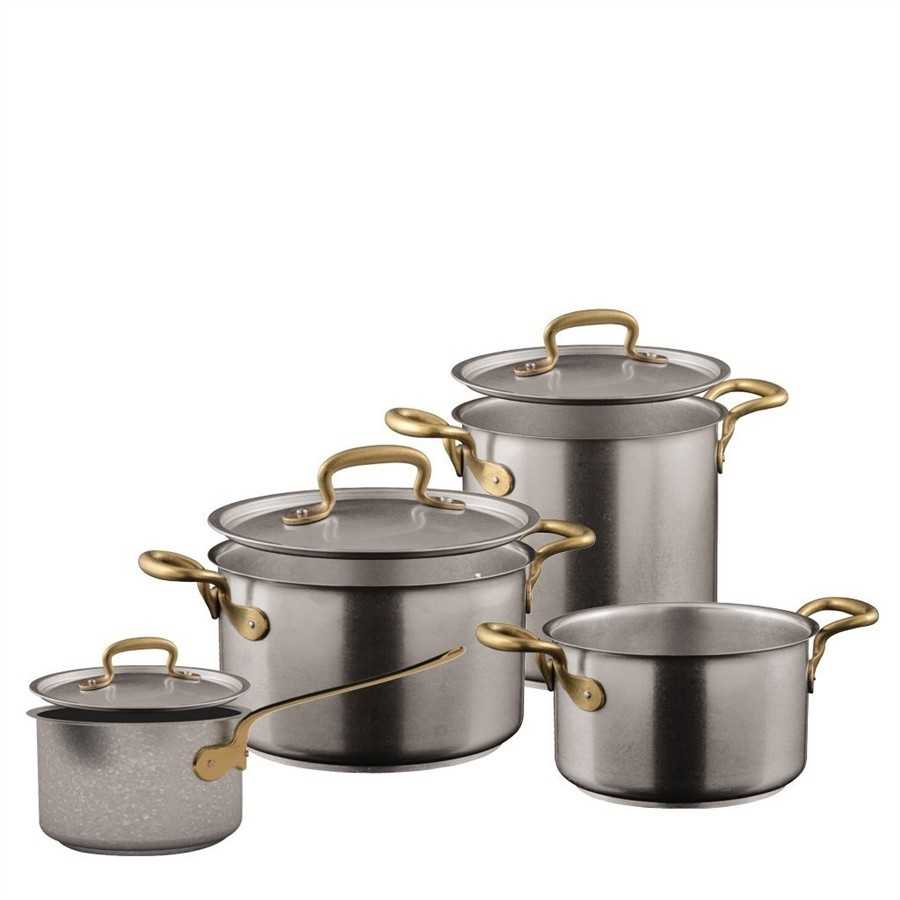 1965 Vintage antique stainless steel cookware set pieces.