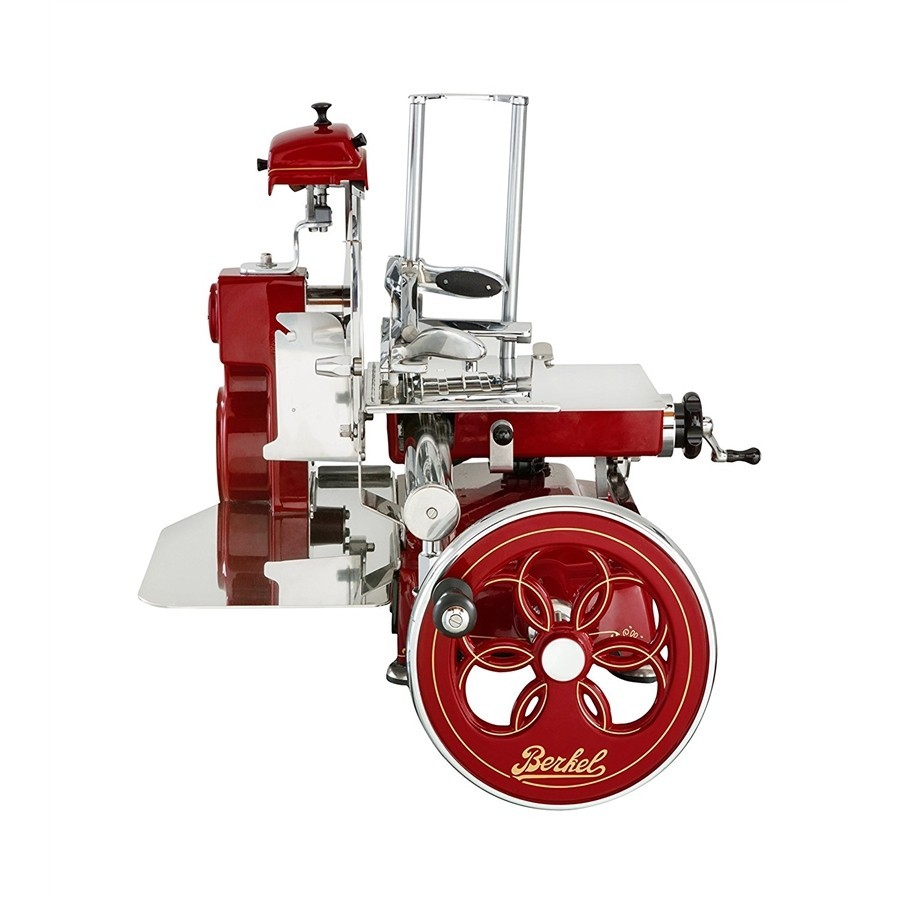 photo Berkel - Flywheel Slicer - Mod. TRIBUTE Novelty 2018 - Red Berkel with Decors Gold and Flowered Vola