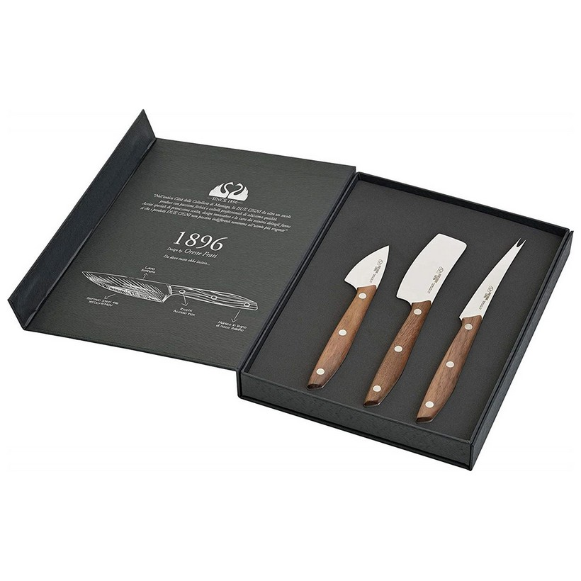 1896 Line - 3-Piece Cheese Knife Set  - Stainless Steel 4116 Blade and Walnut Handle