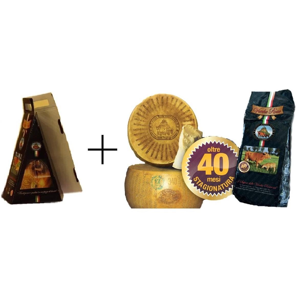2 Geschenkboxen (2 x 0,5Kg) - Parmigiano Reggiano Vacche Rosse Vakuumverpackt von 0,5 Kg RISERV