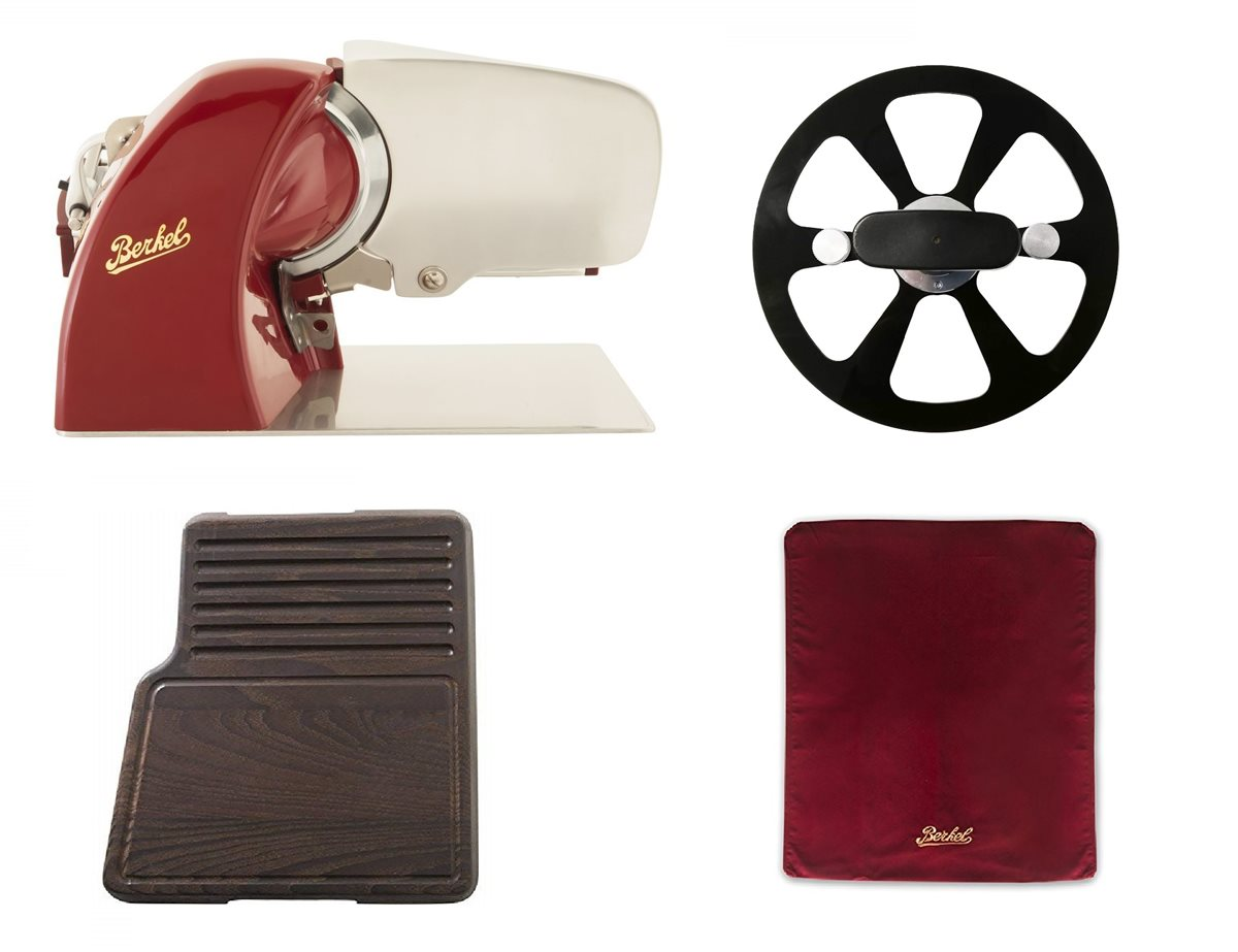 photo Home Line 200 Red + Cutting Board Heat-Treated ash Wood + Slicer Cover Red Size M + Blade Extractor