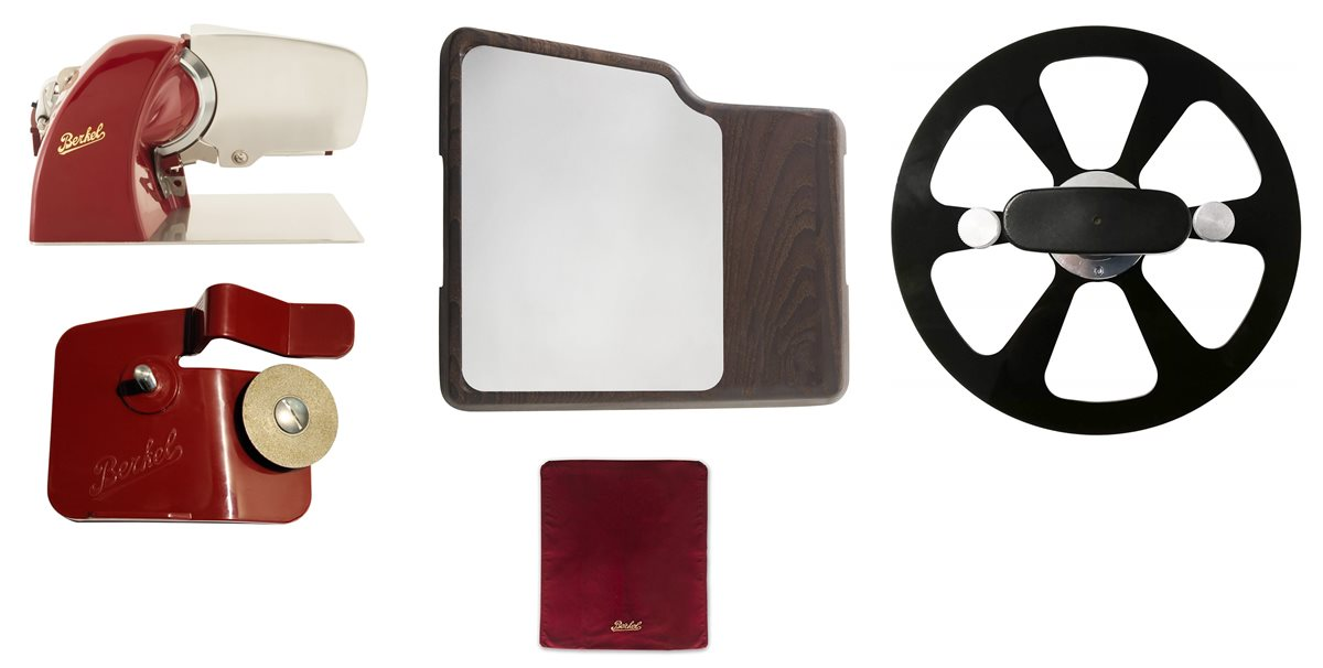 photo Home Line 200 Red + Cutting Board with Inox Plate + Cover + Blade Extractor + Sharpener