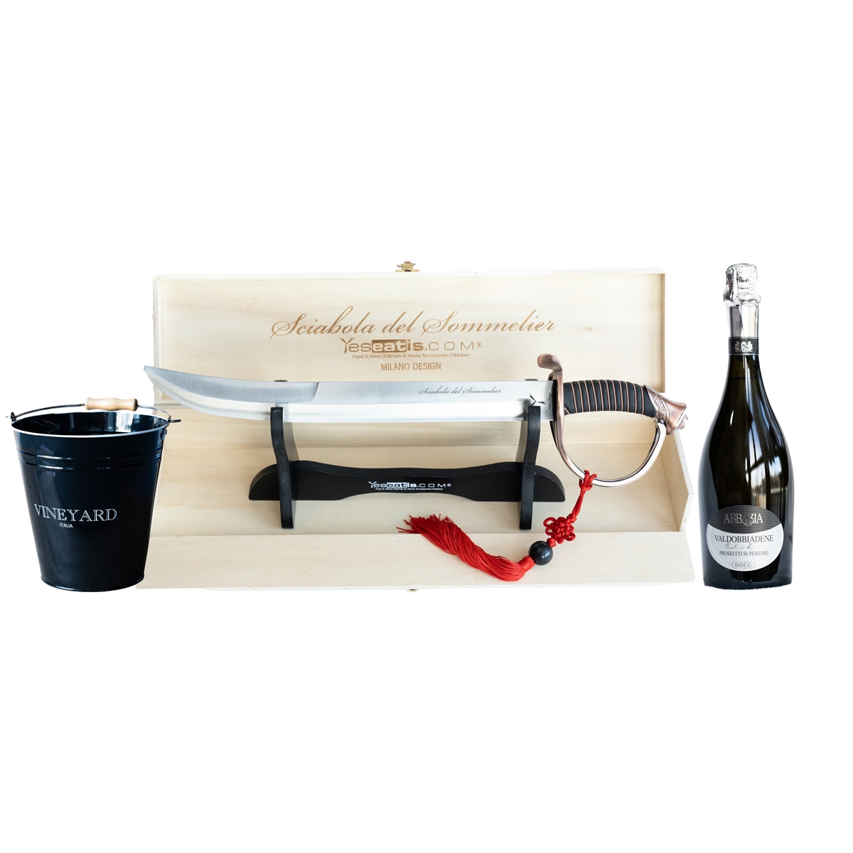 Sabrage Starter Kit with Sommelier Champagne Opener - Ice Bucket and Italian Prosecco wine