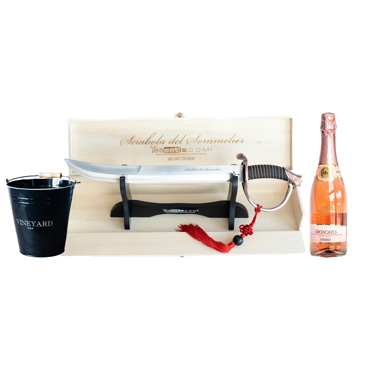 Sabrage Starter Kit with Sommelier Champagne Opener - Ice Bucket and Italian Moscato Rosè