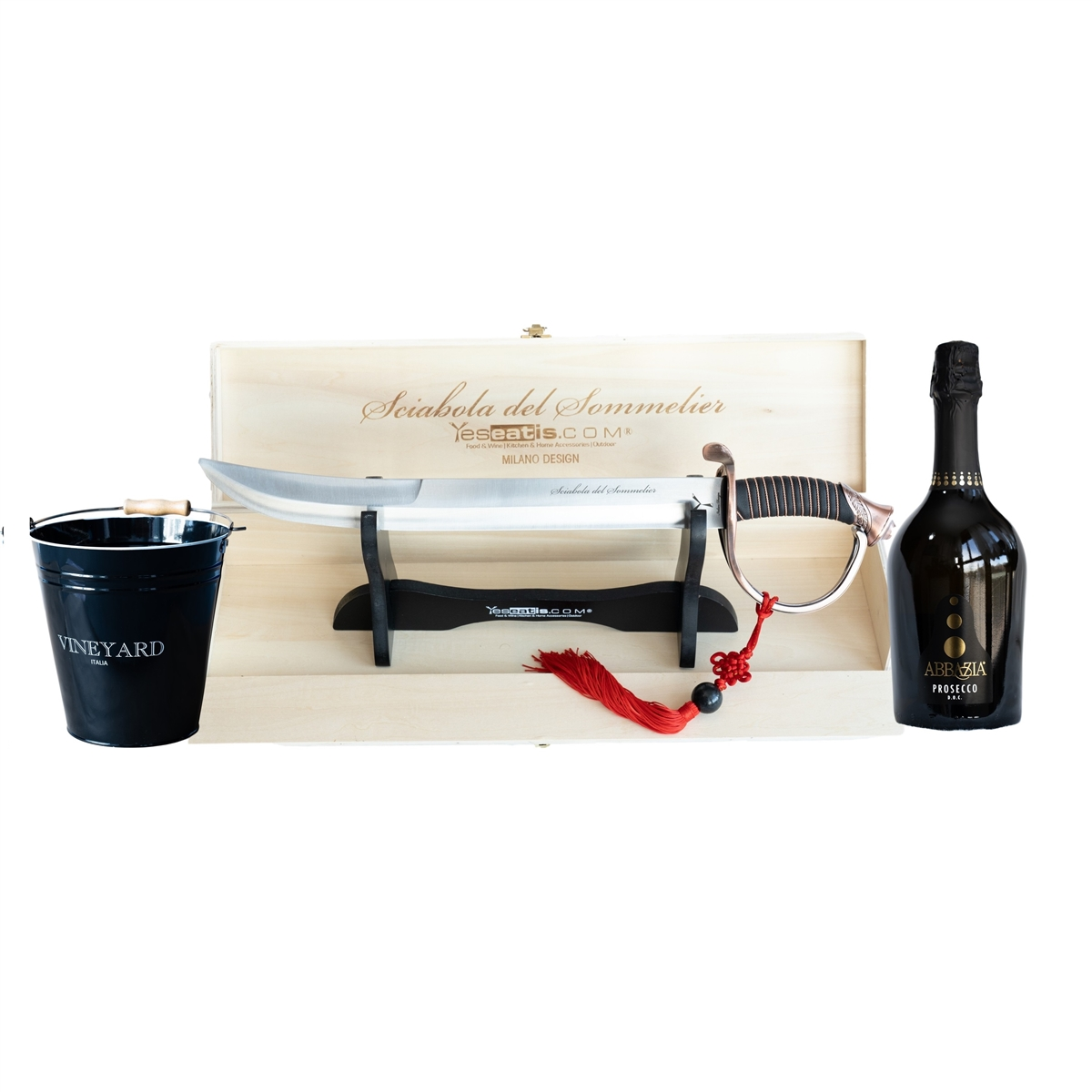 Sabrage Starter Kit with Sommelier Champagne Opener - Ice Bucket and Italian Prosecco DOC