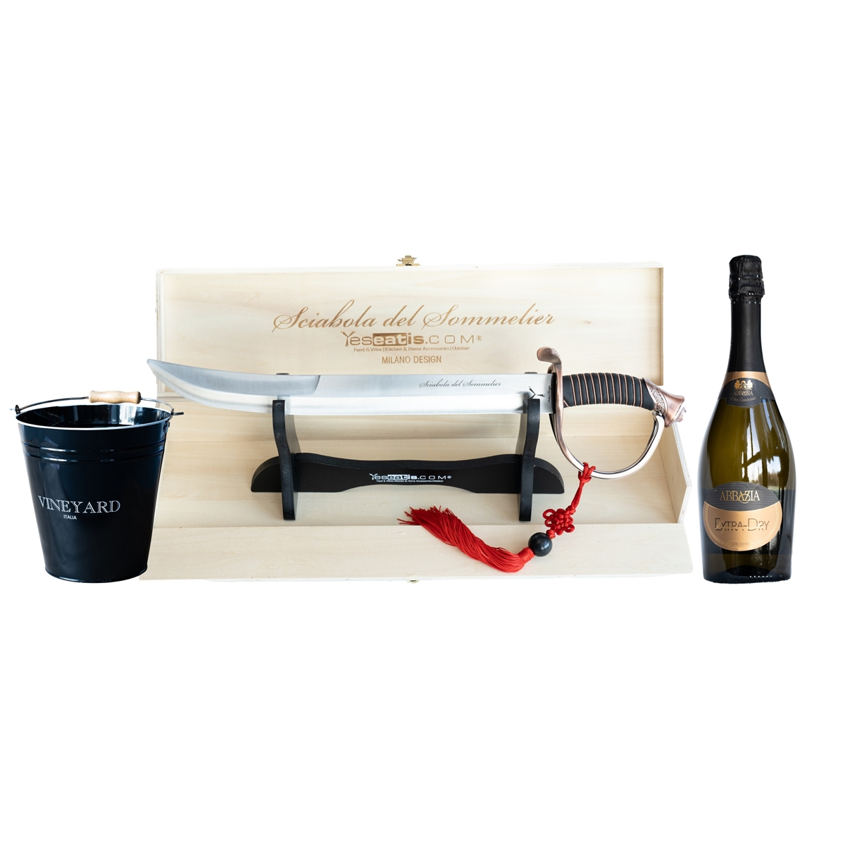 Sabrage Starter Kit with Sommelier Champagne Opener - Ice Bucket and Italian Spumante extra Dry