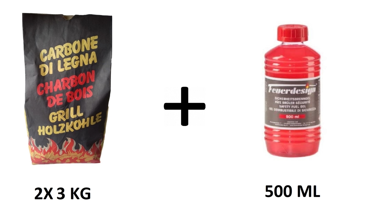6 Kg Beech Charcoal + 500 ml Firelighter Gel - Compatible with Lotus Grill Barbecue
