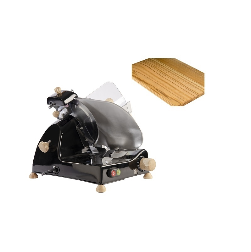 Affettatrice elettrica Curvy Line C220-Lama 22cm-Affilatoio staccato+kit legno frassino - Nero