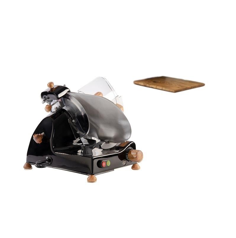 Affettatrice elettrica Curvy Line C220-Lama 22cm-Affilatoio staccato+kit legno ulivo - Nero