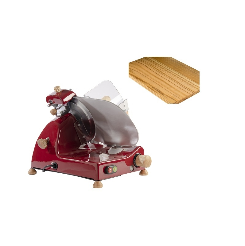 Affettatrice elettrica Curvy Line C220-Lama 22cm-Affilatoio fisso+kit legno frassino - Rosso
