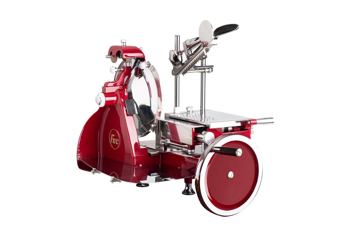 Affettatrice Volano Curvy Line 300-Lama 30cm-Parti in alluminio-Volano Pieno - Rosso