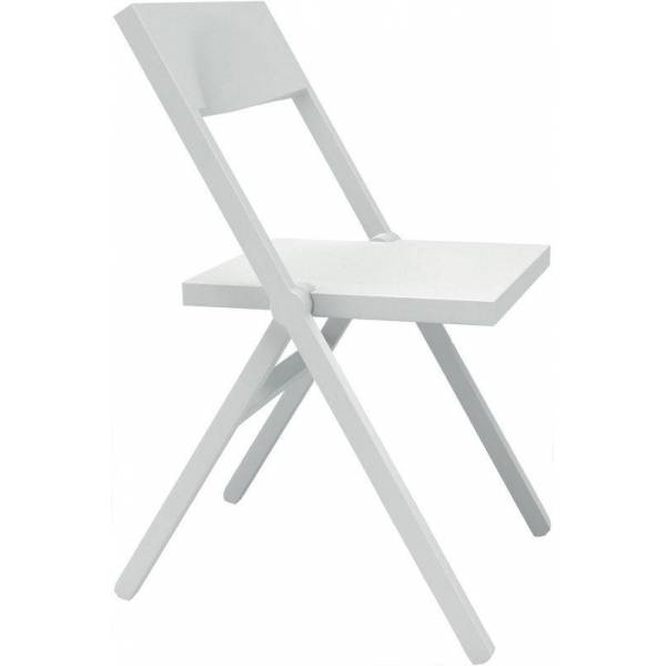 Alessi-Piana Folding and stackable chair in PP and fiberglass, white