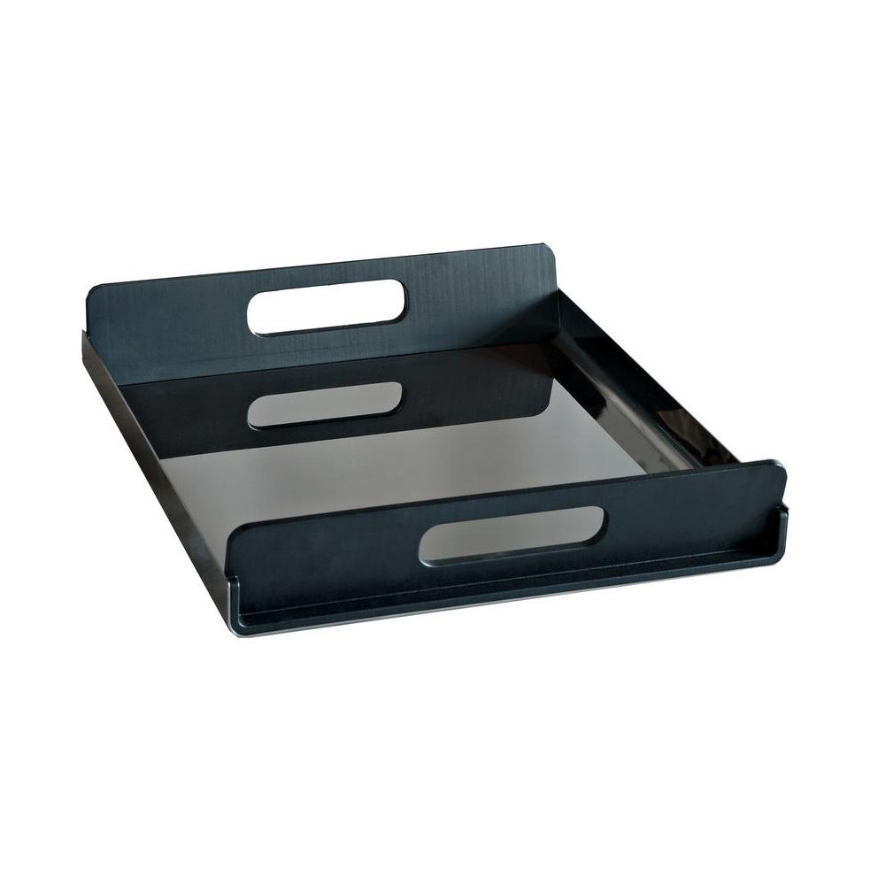 Alessi-Vassily Rechteckiges Tablett aus schwarzem Edelstahl 18/10