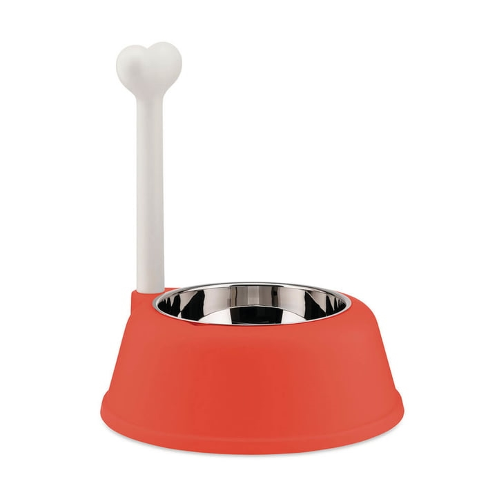 Alessi-Lupita Dog bowl in resin with stainless steel bowl, Red Orange
