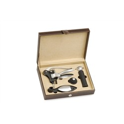 Renoir Set 4 Wine Accessories Gift Box in Python, Lever Corkscrew with Base, Save Wine Stopper and Wine Pum