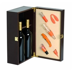Renoir Wooden Wine Box for 2 Bottles of Orange, Box with accommodation for 6 Included Accessories