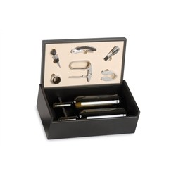 Renoir Black Wooden Box for 2 Bottles with Wine Accessories
