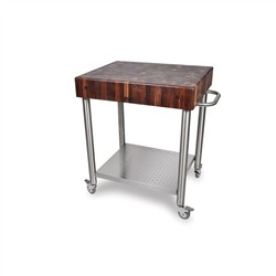 John Boos & Co Cart with cutting board in walnut with stainless steel base and a shelf
