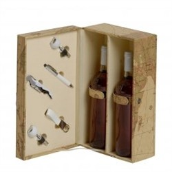 Renoir ancient map box for 2 bottles with accessories
