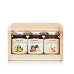 Alpe Pragas Mustards Tris Gift Pack - RASPBERRY AND BALSAMIC VINEGAR OF MODENA - APPLE QUINCE AND MUSTARD - BLUE