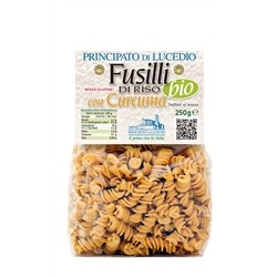 RICE PASTA - FUSILLI with CURCUMA - 250 g - in Cellophane bag with protective atmosphere