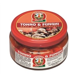 Line Glass Appetizer - 1/4 jar Appetizer Tuna & Mushrooms & gr. 220 - Italian Artisan Product