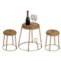 Stool Gabbietta cork and metal