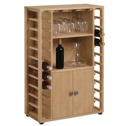 cellar Bar - cellar in pine wood for 22 bottles with glasses support