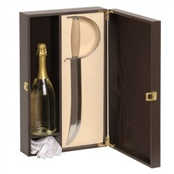 Deposit brown painted wooden door 1 bottle with saber and gloves