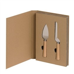 Renoir Kraft Cutlery box - cardboard book with 2 cheese cutlery