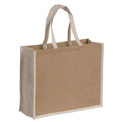 Natural jute bag with colorful details - WHITE