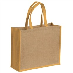 Renoir Natural jute bag with colorful details - ORANGE
