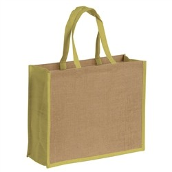 Renoir Natural jute bag with colorful details - GREEN